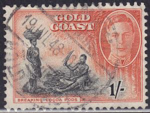Gold Coast 138 USED 1948 KGVI Breaking Cocao Pods 1'-