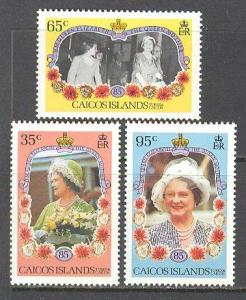 CAICOS ISL. Sc# 74 - 76 MNH FVF Set of 3 Queen Elizabeth