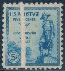 #734 VAR. 5¢ KOSCIUSZKO WITH PRE-PRINT PAPER FOLD ERROR BR4952