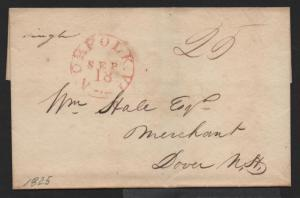 STAMPLESS US COVER Norfolk VA September 18, 1825 to Dover NH