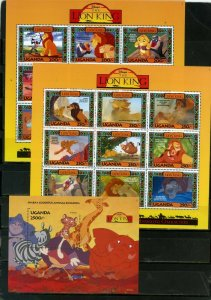 UGANDA 1994 WALT DISNEY LION KING 2 SHEETS OF 9 STAMPS & S/S MNH