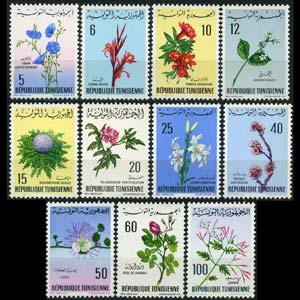 TUNISIA 1968 - Scott# 499-509 Flowers Set of 11 LH