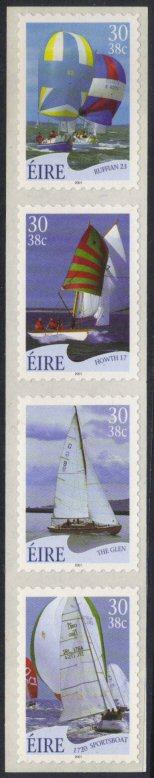 Ireland #1339a MNH strip of sailboats