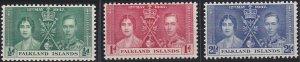 Falkland Islands 81-83 MNH (1937)