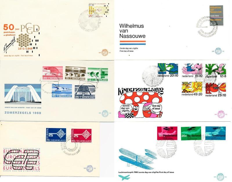 Netherlands 1968 Complete Year Set of 6 unaddressed First Day Covers FDC