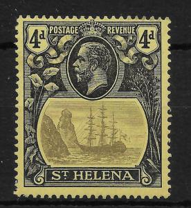 ST.HELENA SG92a 1923 4d GREY & BLACK ON YELLOW BROKEN MAINMAST VAR MTD MINT