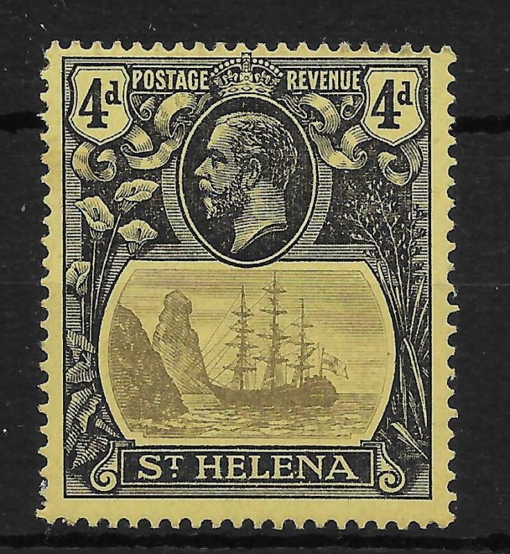 ST.HELENA SG92a 1923 4d GREY & BLACK ON YELLOW BROKEN MAINMAST VAR MTD MINT