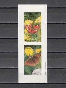 Eynhallow, 1981 issue. Butterflies, IMPERF sheet of 2. E1