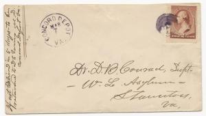 US 19TH CENTURY COVER Concord Depot, VA March 7