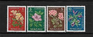 MACAO, 372-375, MINT HINGED, FLOWER
