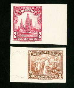 Colombia Stamps # 467+69 XF Rare imperf OG NH