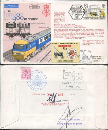 C68c To London by Railway 1980 Special Signed by Colonel K. De Wulf (A)