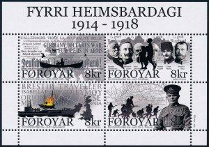 Faroe Islands 2014 Centenary of Start of WWI Minisheet SGMS708 MNH