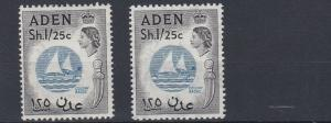 ADEN    1953 - 63    S G  64 + 64A         2 X 1S 25    VALUES     MH