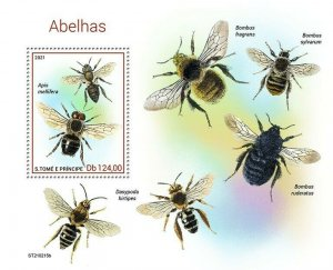 Sao Tome & Principe 2021 MNH Bees Stamps Honey Bee Bumblebee Insects 1v S/S