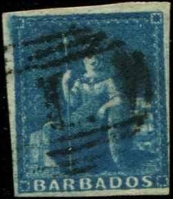 Barbados SC# 6 SG# 5a Britannia (1d) blue Imperf Used