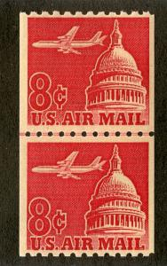 UNITED STATES C65 MNH VF/XF LINE PAIR SCV $4.00 BIN $2.50 AIRPLANES