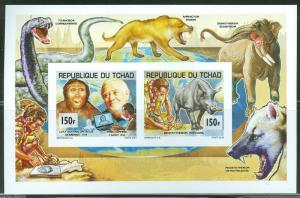 CHAD  2013  BOY SCOUT &  PREHISTORIC ANIMALS COLLECTIVE SHEET  MINT NH IMPERF