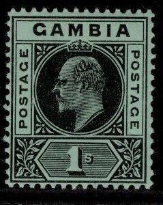 GAMBIA EDVII SG81, 1s black/green, NH MINT.