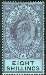 GIBRALTAR-1903 8/- Dull Purple & Black/Blue.  A mounted mint example Sg 54