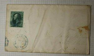 US Sc# 158 Used On Cover 1874 Marshalltown Belle Plaine IA Blue Cancel