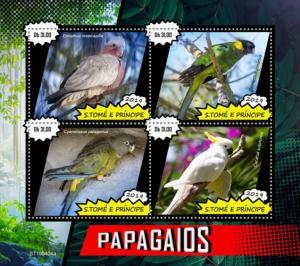 SAO TOME - 2019 - Parrots - Perf 4v Sheet - MNH