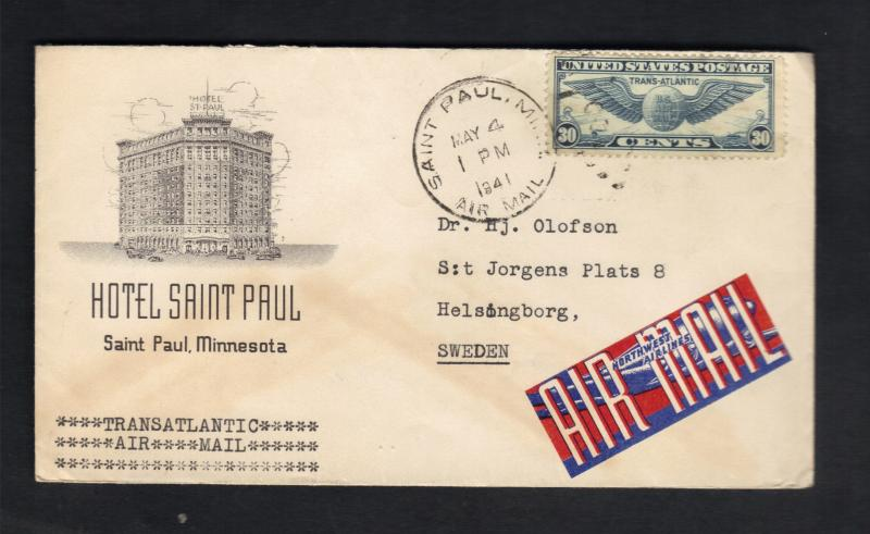 1941-US Air Mail Sc#C24(AP16) St.Paul,Minn To Sweden Cachet Hotel St.Paul