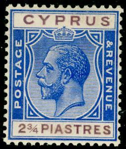 CYPRUS SG109, 2¾pi brt blue & purple, LH MINT.