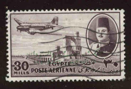 EGYPT Scott C60 Used 1952 airmail with King of Egypt and Sudan opt