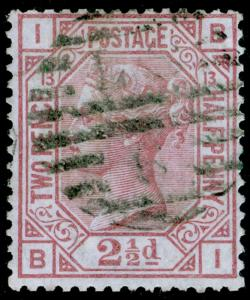 SG141, 2½d rosy mauve plate 13, USED. Cat £85. BI