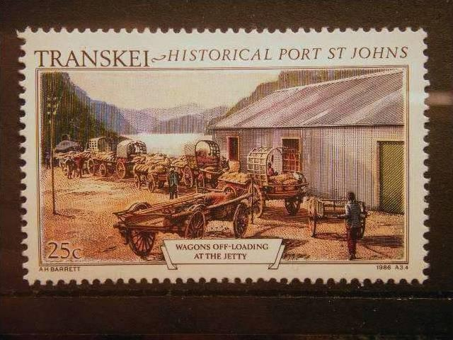 TRANSKEI, 1986, MNH 25c, Historic Port St. Johns.Wagons off-loading maize at ...