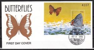 Bhutan, Scott cat. 1241. Butterfly s/sheet on a First day cover. *