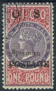 NEW SOUTH WALES 1887 QV POSTAGE OS 1 POUND SPECIMEN CTO WITH CERTIFICATE PERF 11