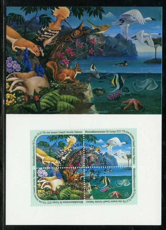 UNITED NATIONS  LOT OF  WILDLIFE MAXIMUM  CARDS 3 FD CANCELED & 3  MINT
