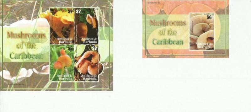 ANTIGUA & BARBUDA  2007 MUSHROOMS SCOTT 2943-4 MNH COMPLETE SET