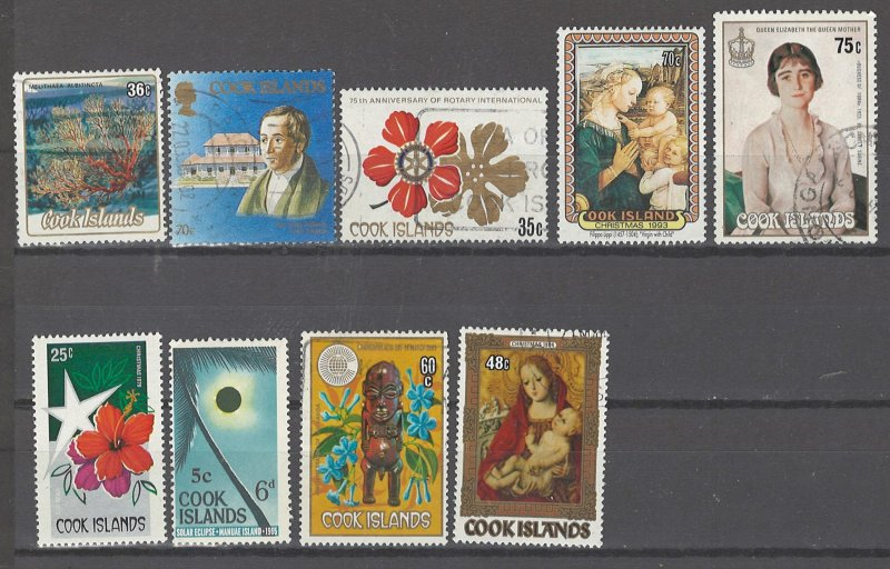 COLLECTION LOT # 2477 COOK ISLANDS 9 ALL CONDITION STAMPS 1967+