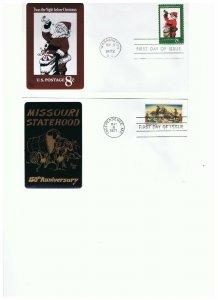 Sarzin Metallic FDCs Scott #1426 Missouri Statehood and #1472 Santa Claus