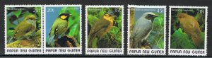 Papua New Guinea MNH 715-9 Gorgeous Birds 1989