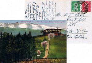 Germany 5pf Schiller and 10pf Frederick The Great 1927 Petersdorf, (Risengeb....