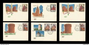 E)1971 RUSSIA, RUSSIA CITY, CASTLES, ARCHITECTURE, ILUSTRATION, FDC SET OF 6