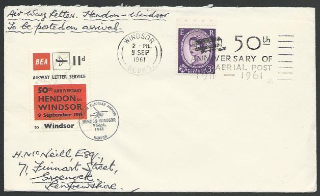 GB 1961 BEA 11d airmail stamp on cover Windsor flight 50th Anniv...........88715