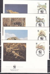 New Zealand, Scott cat.1023-1026. WWF-Lizards issue. 4 First day covers. ^