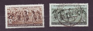 J23269 JLstamps 1954 germany DDR used set #426-7 bicycle race