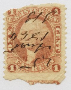 B67 U.S. Revenue Scott R1b 1-cent Express part perf 1864 manuscript cancel