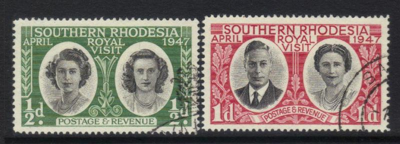 SOUTHERN RHODESIA 1947 ROYAL VISIT USED SET OF 2