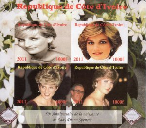 Ivory Coast 2011 Diana,Princess of Wales 50th.Ann.Birth Sheetlet (4) IMPERF.MNH