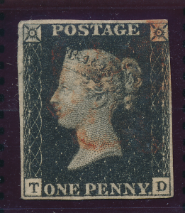 Great Britain Stamp Scott #1, Used Penny Black T/D Four Margins Light Red Can...
