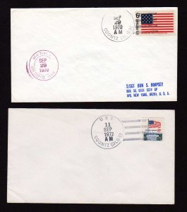 Lot 2 USS Coontz DLG 9 US Navy Naval Ship Military Stamp Covers 4 Bar Cancel