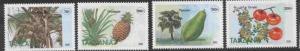 Tanzania 1329-32 MNH Fruit, Coconuts, Pinapple, Pawpaw, Tomato
