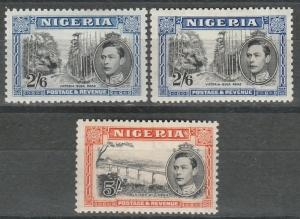 NIGERIA 1938 KGVI PICTORIAL 2/6 AND 5/- P13.5 X 11.5 AND 2/6 P12